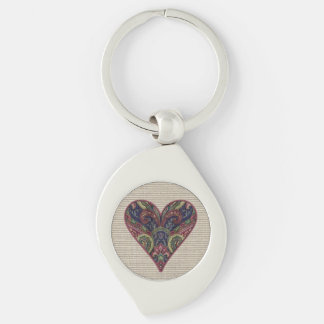 Fabric Heart Collage Keychain