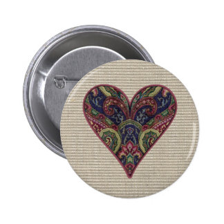 Fabric Heart Collage Pinback Button