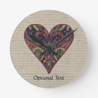 Fabric Heart Collage Round Clock