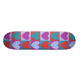 fabric heart love valentine pattern rustic burlap skateboard deck