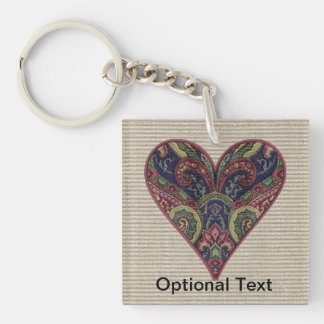 Fabric Heart Tapestry Collage Double-Sided Square Acrylic Keychain