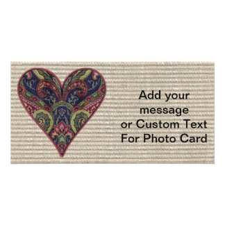 Fabric Heart Tapestry Collage Photo Card
