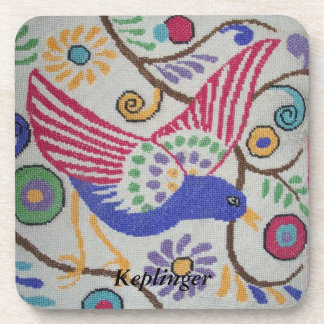 Fabric look Bird on a Branch Personalized Coasters
