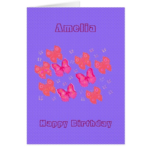 Fabric Look with butterflies birthday card