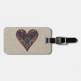 Fabric Love Heart Collage Travel Bag Tag
