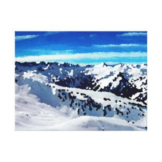 Fabric mountains under snow canvas print