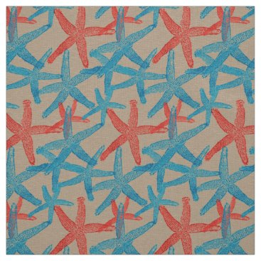 Beach Themed fabric Nautical starfish beach blue red  taupe