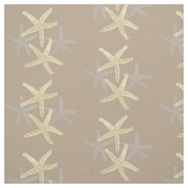 Beach Themed fabric Nautical starfish beach grey yellow sand