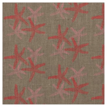 Beach Themed fabric Nautical starfish beach red pink taupe