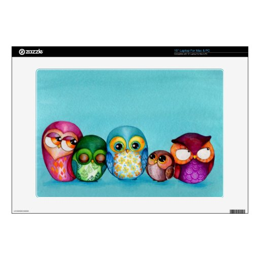 Fabric Owl Family Laptop Decals