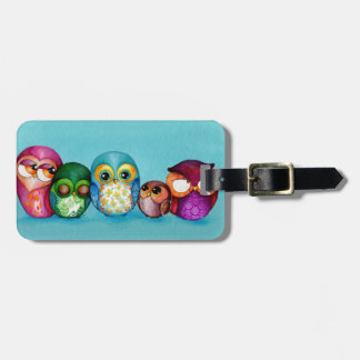 Fabric Owl Family Tags For Luggage