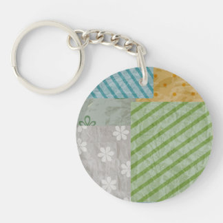 Fabric Patch Pattern Single-Sided Round Acrylic Keychain