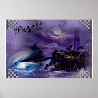 fabric Purple Moon dolphin Poster