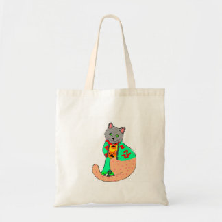 Fabric purse with the cat drawing tote bag