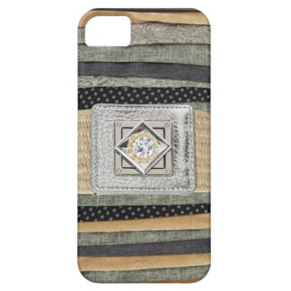 Fabric Scraps Metallic & Rhinestones IPhone4 Case