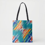 Fabric stock market with outlines of colors tote bag