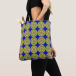 Fabric stock market with sends them in blue tone tote bag