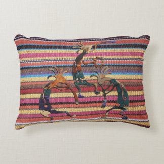 Fabric Stripes Pattern colored I + KOKOPELLI Accent Pillow