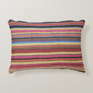 Fabric Stripes Pattern colored I + your ideas Accent Pillow