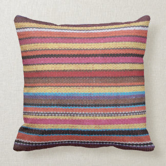 Fabric Stripes Pattern colored I + your ideas Throw Pillow