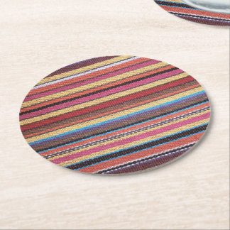Fabric Stripes Pattern colored I + your ideas Round Paper Coaster