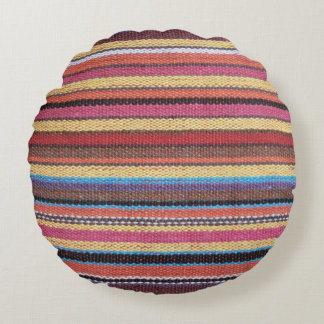 Fabric Stripes Pattern colored I + your ideas Round Pillow