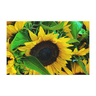 Fabric sunflowers canvas print