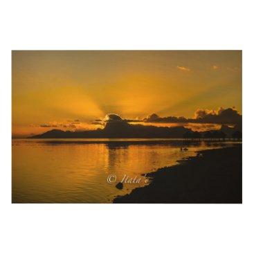 "Beach Themed Fabric ""Sunset"" on the island of Moorea Wood Wall Art"