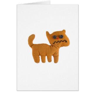 Fabric teddy cat greeting card