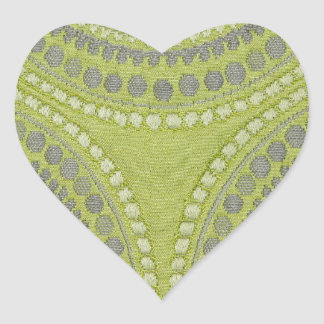 Fabric Texture Green Circle Grey Vintage Cool Patt Heart Sticker