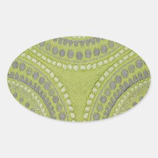Fabric Texture Green Circle Grey Vintage Cool Patt Oval Sticker