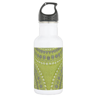 Fabric Texture Green Circle Grey Vintage Cool Patt Stainless Steel Water Bottle