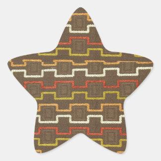 Fabric Textures Vintage Retro 70s Zig Zag Pattern Star Sticker