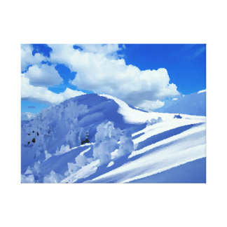 Fabric top of mountains under snow canvas print