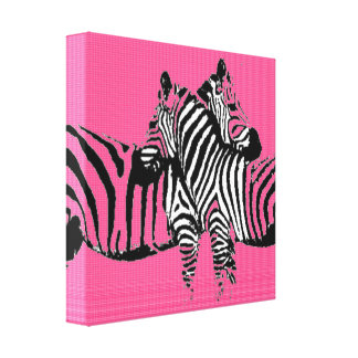 Fabric Two Pink Zebras Canvas Print
