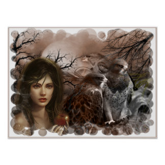 fabric woman and birds poster