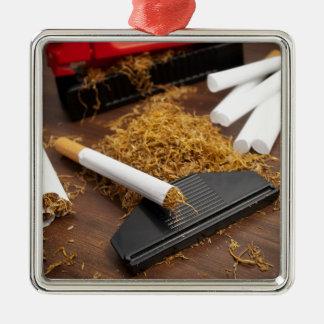 Fábrica casera del tabaco adorno navideño cuadrado de metal