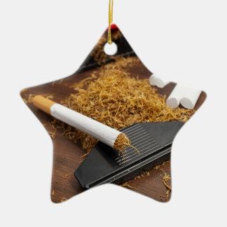 Fábrica casera del tabaco adorno navideño de cerámica en forma de estrella