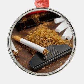 Fábrica casera del tabaco adorno navideño redondo de metal