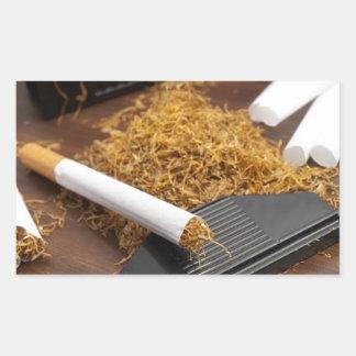 Fábrica casera del tabaco pegatina rectangular