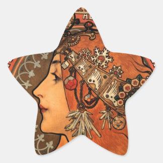 Fábrica de jabón de Bagnolet - Alfonso Mucha Pegatina En Forma De Estrella