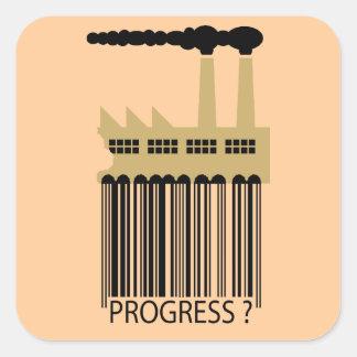 ¿Fábrica y humo - progreso de la clave de barras Calcomanía Cuadrada Personalizada