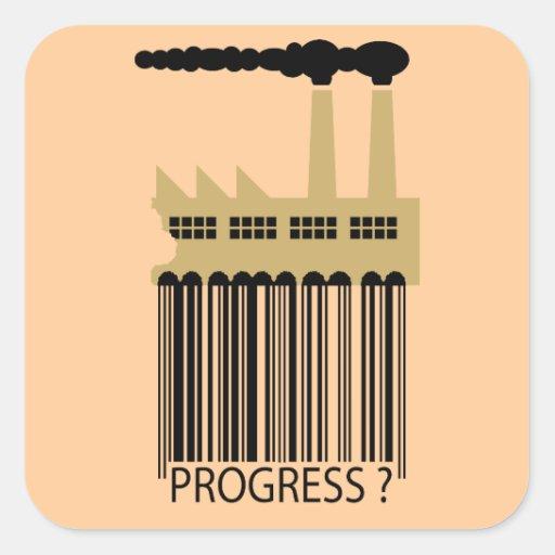 ¿Fábrica y humo - progreso de la clave de barras? Calcomanía Cuadrada Personalizada
