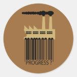 ¿Fábrica y humo - progreso de la clave de barras? Etiqueta Redonda