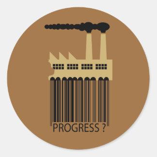 ¿Fábrica y humo - progreso de la clave de barras Etiqueta Redonda