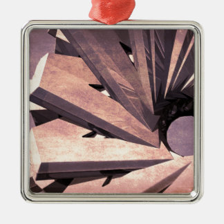 Fabricación abstracta adorno navideño cuadrado de metal