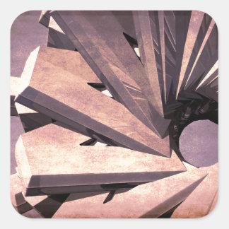 Fabricación abstracta pegatina cuadrada