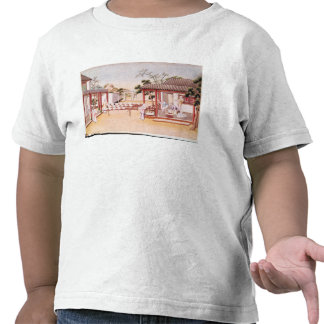 Fabricación de la porcelana w c en el papel camiseta