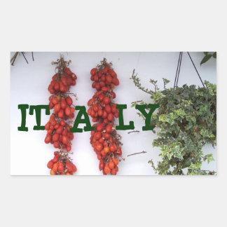 Fabricación de los tomates secados al sol pegatina rectangular