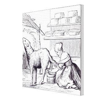 Fabricación de quesos en Suiza, después de un cort Impresion En Lona